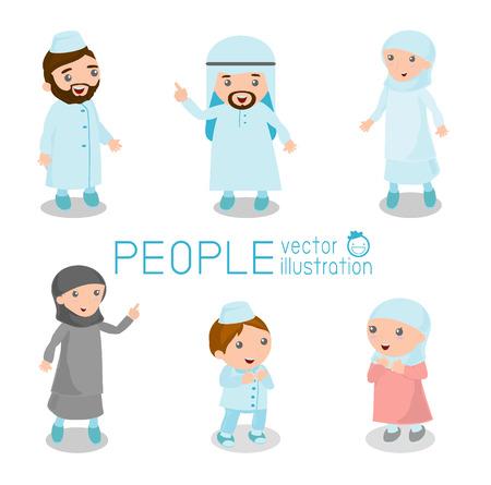Conjunto de personas árabes conducta diferentes de pie. aislado en el fondo blanco.