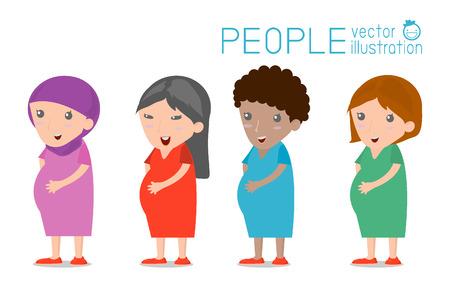 embarazadas estrenimiento: mujer embarazada, diferentes nacionalidades, el concepto de la gente personaje de dibujos animados. diseño plano moderno