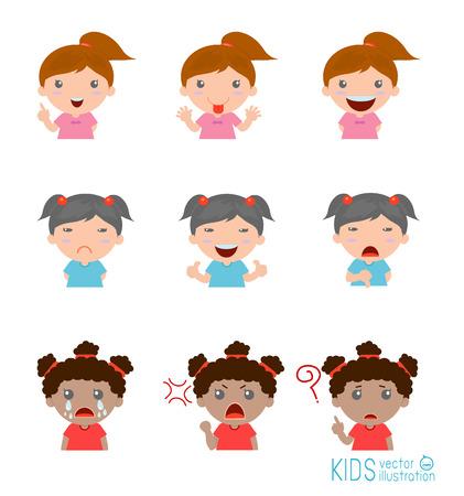 fille pleure: Jeu de fille expressions sur fond blanc, Expression ensemble d'enfants,