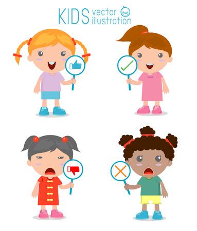 pobre: niños niña tiene un plato de señal para responder correcta o incorrecta