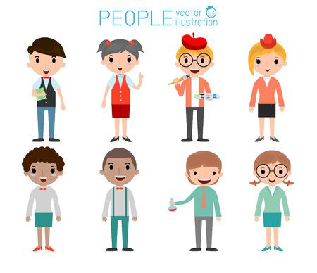 estudiante: Conjunto de diversos estudiantes de colegio o universidad aisladas en el fondo blanco. Nacionalidades y estilos de vestir diferente. concepto de personaje de dibujos animados personas.