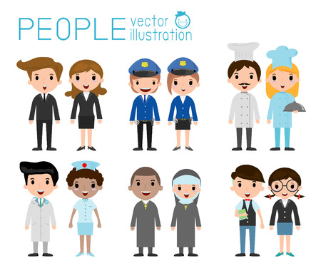 occupation: Set of diverse occupation people isolated on white background. Different nationalities and dress styles. people character cartoon concept.flat modern design Illustration