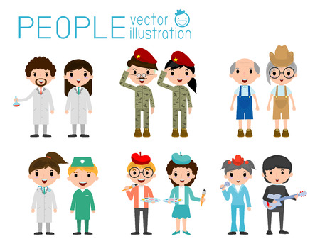 profesiones: Conjunto de personas diversas de ocupación aislados sobre fondo blanco. Nacionalidades y estilos de vestir diferente. personaje de dibujos animados de personas concept.flat diseño moderno