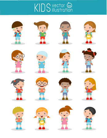 ir al colegio: Conjunto de diversos niños y diferentes nacionalidades aisladas sobre fondo blanco, los niños van a la escuela, de nuevo a escuela, niños lindos de la historieta, niños felices