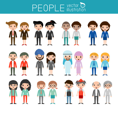 set of businessman: people characters, large group of people Illustration