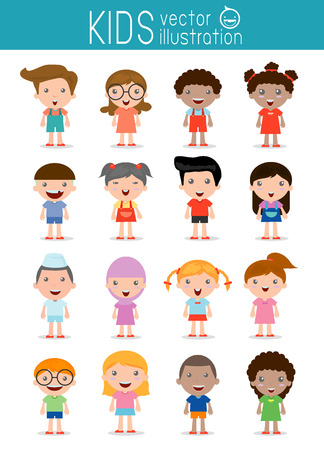 kinderen: Set van diverse kinderen op een witte achtergrond. . Verschillende nationaliteiten en kleding stijlen. Europese kinderen, Amerika's kinderen, kinderen Aziatische, Afrikaanse kinderen, gelukkige kinderen