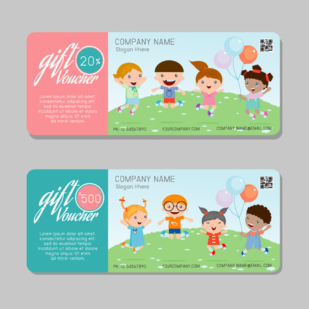 facture restaurant: Gift voucher template and modern pattern. Voucher template with premium pattern, gift Voucher template with colorful pattern. bright concept.  Illustration