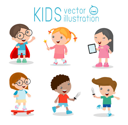 study cartoon: happy cartoon kids playing, Kids playing on white background , Skating,  tablet, Cute little Angel, Play Fencing