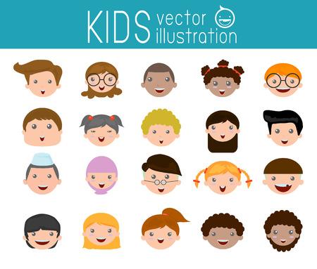 visage: Ensemble de la tête des enfants de la bande dessinée, dessin animé visage d'enfant icône, visage d'enfant, les enfants et les différentes nationalités Illustration