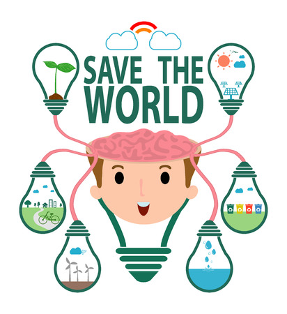 green bulb: Save the World Concept , Ecology idea green bulb on brain , Green City, environment, ecology infographic, save the water.