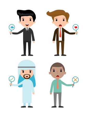 true or false: businessman have a plate of sign to answer correct or incorrect, businessman hand thumb up with true and false sign, illustration of positive and negative feedback.