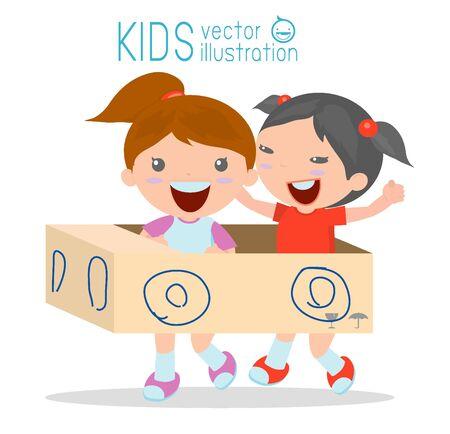 carton: los niños que conduce el coche de cartón, paseo Niño feliz en coche de juguete de cartón, niños creativos juega con su coche de cartón en el fondo blanco Vectores