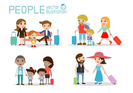 to sit: Personajes Set viajeros de la familia. personas y niños que viajan. Diseño plano. viajando familia de vacaciones. Vectores