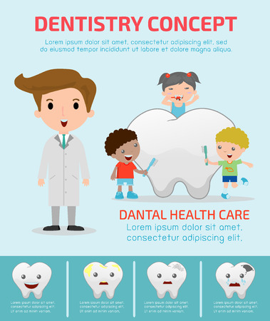 caricatura enfermera: Concepto de Odontología con el cuidado de la salud dental, la infografía del dentista, plana iconos modernos de diseño ilustración Vectores