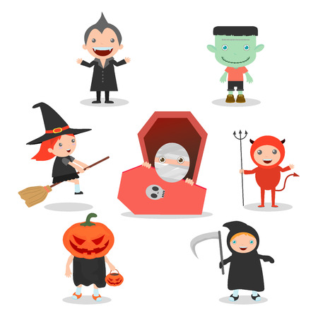 costume party:  illustration of Cute kids wearing Halloween monster costume on white background, Happy Halloween,Halloween Party