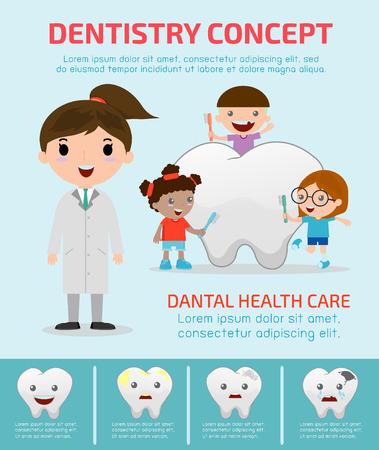 Tandheelkunde concept met tandheelkundige zorg, tandarts infographics, vlakke moderne iconen ontwerp illustratie
