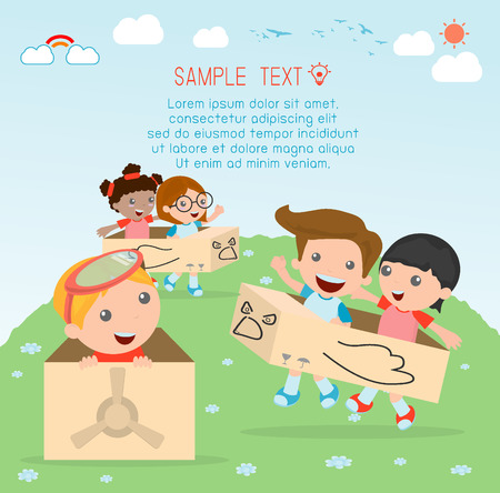 happy cartoon kids in a cardboard airplane, Creative kids plays with his cardboard airplane, kids playing, happy child