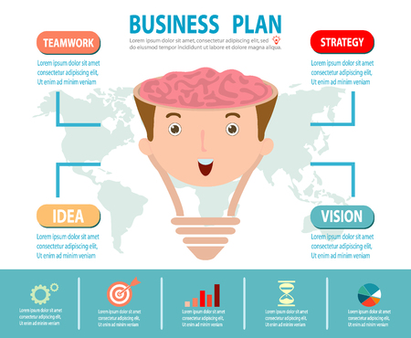 estrategia: Concepto de negocio Plan Concepto de la idea del cerebro, bombilla creativo, planificación de la estrategia de negocios como concepto, infografía Vectores