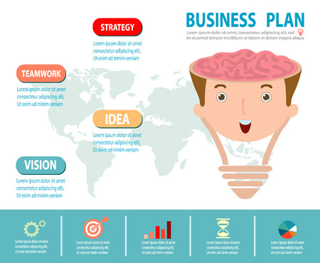 plan de accion: Concepto de negocio Plan Concepto de la idea del cerebro, bombilla creativo, planificaci�n de la estrategia de negocios como concepto, infograf�a Vectores