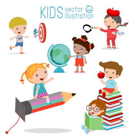 scuola: bambini felici del fumetto con il concetto di educazione, torna a modello di scuola con i bambini, i bambini vanno a scuola, torna a scuola, i bambini carino cartone animato, bambini felici Vettoriali