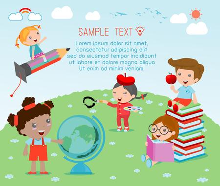 felices los niños de dibujos animados con el concepto de educación, a la plantilla de la escuela con los niños, los niños van a la escuela, de nuevo a escuela, niños lindos de la historieta, niños felices