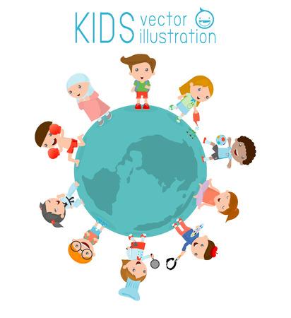 아이들의 다국적 우정 세계 세계의 흰색 배경에 전 세계 아이, 지구 주위 아이의 벡터 일러스트 레이 션, 아이 친구