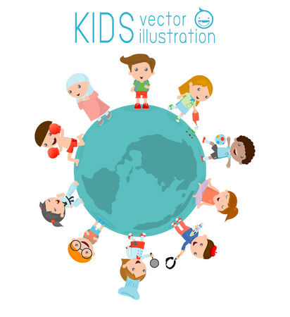 world peace: kids around the globe on a white background, vector illustration of kids around earth, kids friends from around the world,Multinational friendship of children from around the world Illustration