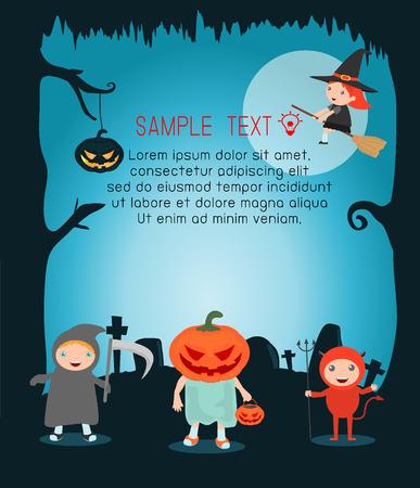 calabazas de halloween: ilustración vectorial de monstruo de Halloween Feliz Halloween, fiesta de Halloween