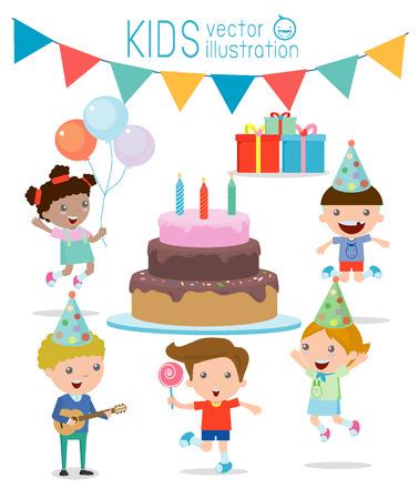 urodziny: Ilustracja Kids w Birthday Party, Party dla dzieci, urodziny, urodziny dla dzieci