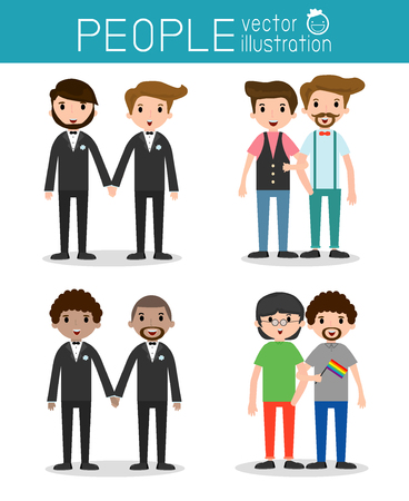 equal to: happy gay, loving gay male couple on their wedding day and casual clothes, Vector Illustration Illustration