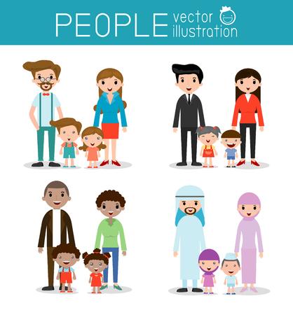 padres e hijos felices: conjunto de la familia feliz, diferentes nacionalidades y estilos de vestir, la gente concepto de personaje de dibujos animados, afroamericanos, asiáticos, árabes, europeos, familia, madre, padre, niña, niño, ilustración vectorial Vectores