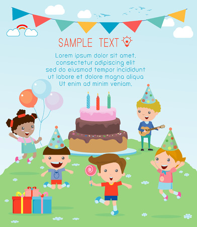 Illustration des enfants dans une fête d'anniversaire, Kids Party, fête d'anniversaire, fête d'anniversaire pour les enfants Banque d'images - 44328786