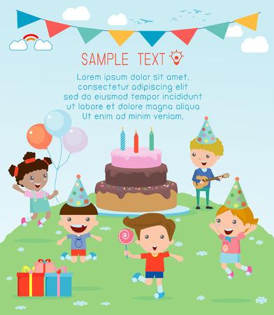 felicitaciones: Ilustración de niños en una fiesta de cumpleaños, fiesta de los niños, fiesta de cumpleaños, fiesta de cumpleaños para niños