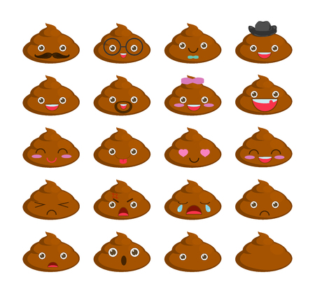 poo: Cute set of cut poop emoticon smileys isolated on white background. flat icons. turd poop cartoon Vector Illustration Illustration