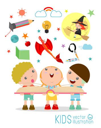 Kindlesebuch mit Imagination fliegen aus, Kindern das Lesen eines magischen Buch, isoliert auf weißem Hintergrund, Vorstellungskraft Konzept, glückliche Kinder, Vektor-Illustration.