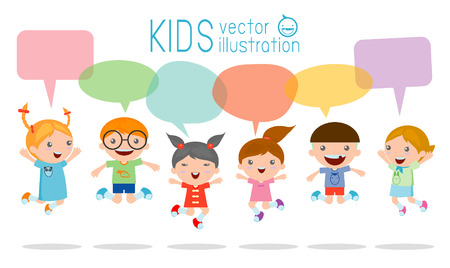 and activities: Cute kids with speech bubbles, stylish children jumping with speech bubble, children talking with speech balloon. Vector Illustration