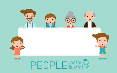 happy family: family peeking behind placard, happy family, fun family with a banner ad, Vector Illustration.
