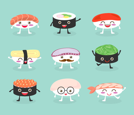 friends eating: Sushi set, cute sushi set, Japanese food, sushi icons, Vector cartoon. Cartoon characters, Vector Illustration
