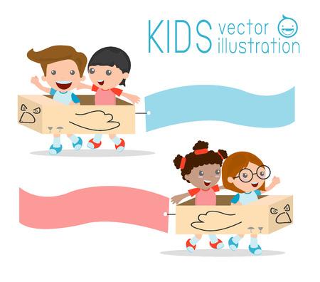 chicos: Ilustración de niños Montar cartón avión con Banners unidos a ellos, niños jugando, niño feliz, ilustración vectorial