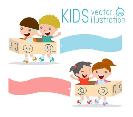 notice: Illustration of Kids Riding cardboard car  with Banners Attached to Them, kids playing, happy child, Vector Illustration