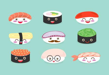 Sushi set, jeu mignon de sushi, nourriture japonaise, icônes de sushi, de bande dessinée vectorielle. Personnages de bande dessinée, vecteur Illustration Vecteurs