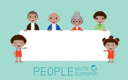 young people fun: family peeking behind placard, happy family, fun family with a banner ad, Vector Illustration.