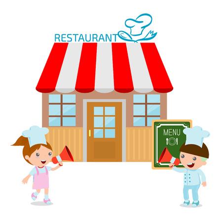 awnings: Vector illustration of restaurant, Restaurant facade and Cute Kids Chef,Vector illustration