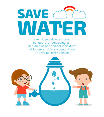 clean off: Kids for save water concept, Ecology Save The Water, Water conservation concept. Vector illustration