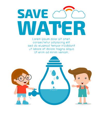 educacion ambiental: Niños por concepto de agua ahorro, Ecología Guardar el agua, el concepto de conservación del agua. Ilustración vectorial Vectores