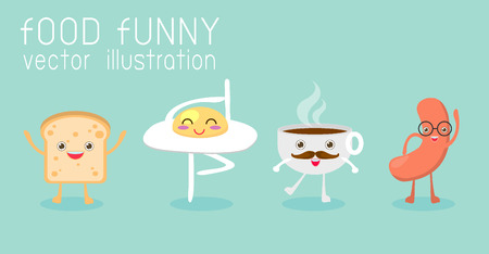 food funny, Breakfast, Egg,toast, coffee cup,sausage, Vector Illustration  イラスト・ベクター素材
