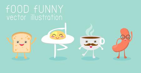 Cibo, colazione, uova, pane tostato, tazza di caffè, salsiccia, illustrazione vettoriale divertente Archivio Fotografico - 45254771