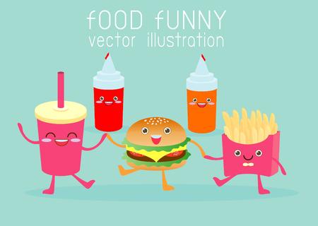 cartoon strip: fast food, food funny,cartoon fast food, set Vector Illustration. Fast food. Flat design.
