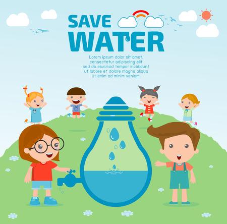 niños reciclando: Niños por concepto de agua ahorro, Ecología Guardar el agua, el concepto de conservación del agua. Ilustración vectorial Vectores