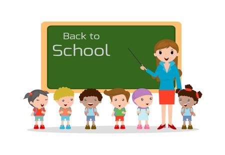 enseñanza: Maestros y personal de la escuela los niños, los niños y Maestro, ilustración vectorial